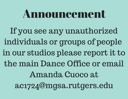 Student announcementIf you see any unauthorized individuals or groups in our studios please report it to%2