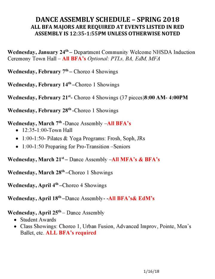 DANCE ASSEMBLY SCHEDULE Spring 2018 New2