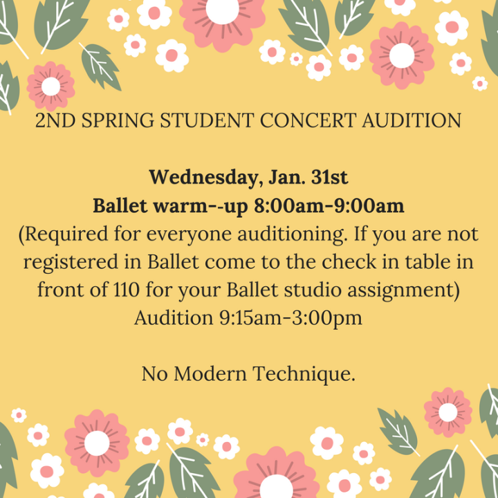 Wednesday 2ND SPRING STUDENT CONCERT AUDITIONThompson, James,BarrAngelineBallet warm-­‐uprequired foreveryoneauditioning (1)