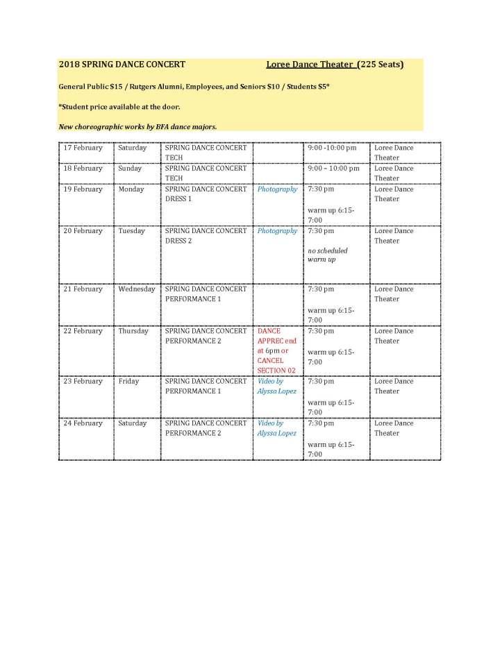 2018 SPRING DANCE CONCERT schedule