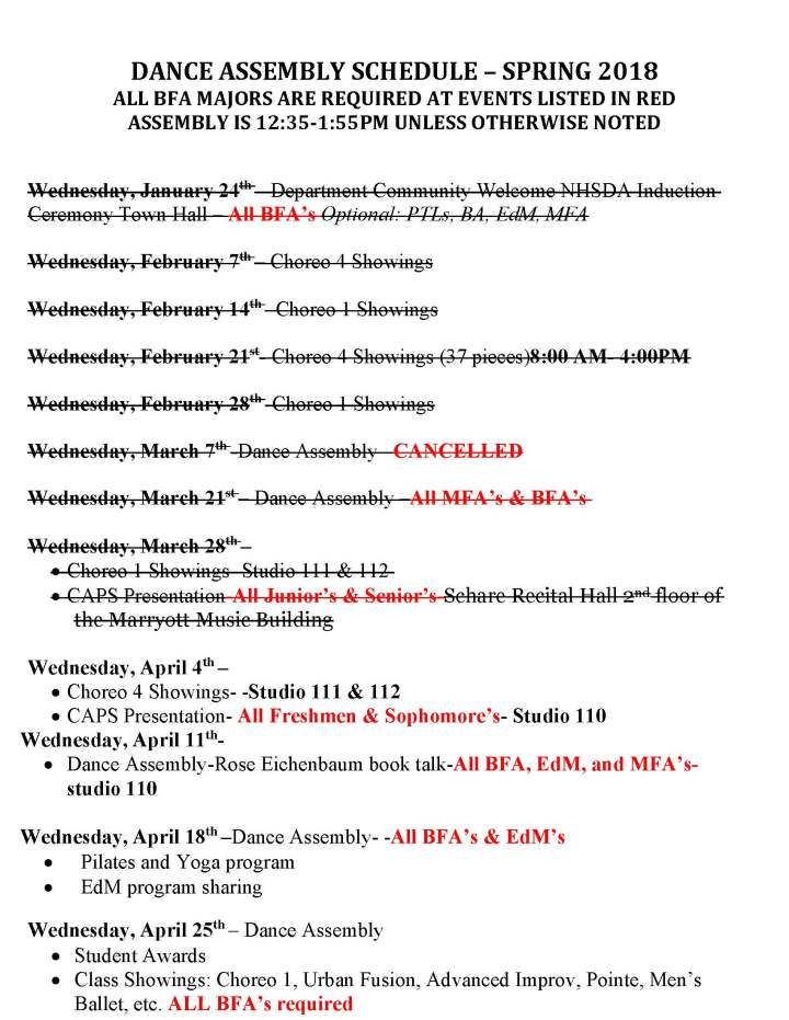 DANCE ASSEMBLY SCHEDULE Spring 2018 NEW