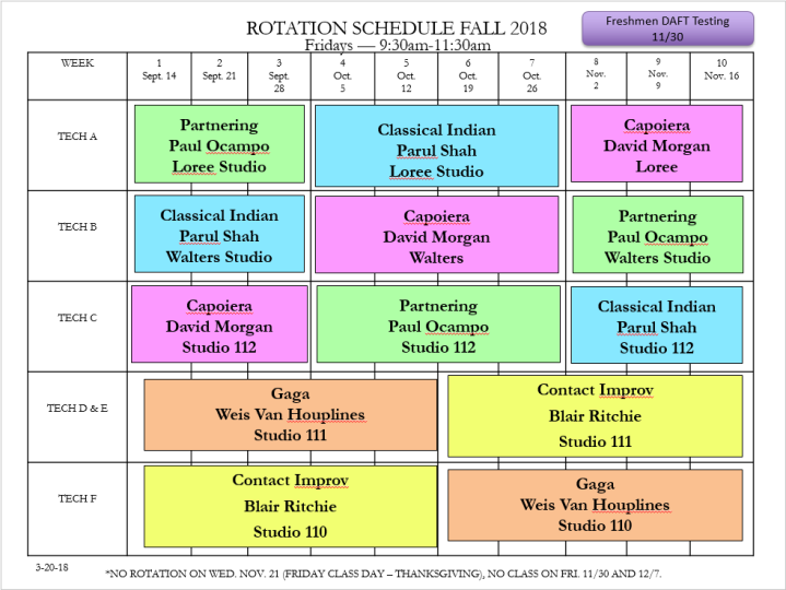 Fall 2018 Rotation Schedule