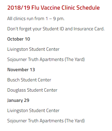 Flu Shot Clinic Schedule