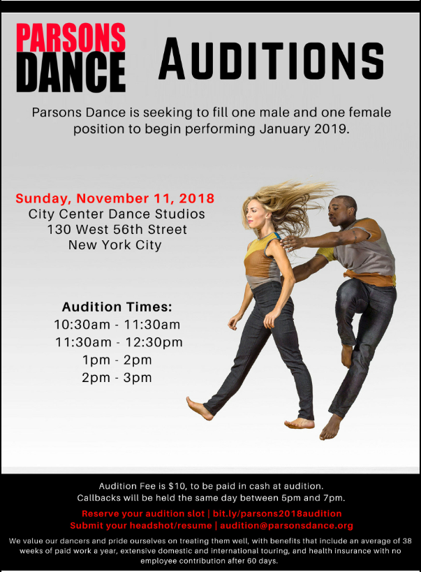 Parsons Dance Auditions
