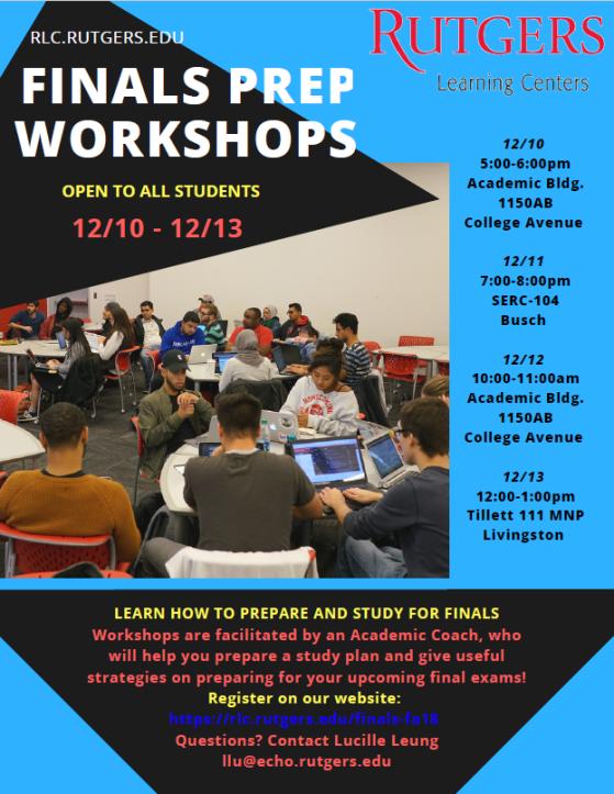 Final Prep Workshops Fall 2018