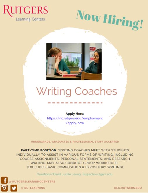 Rutgers Learning Center Writing Coaches