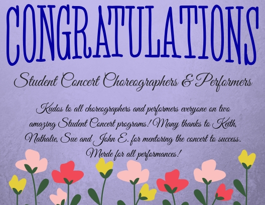 Student Concert Choreographers & Performers