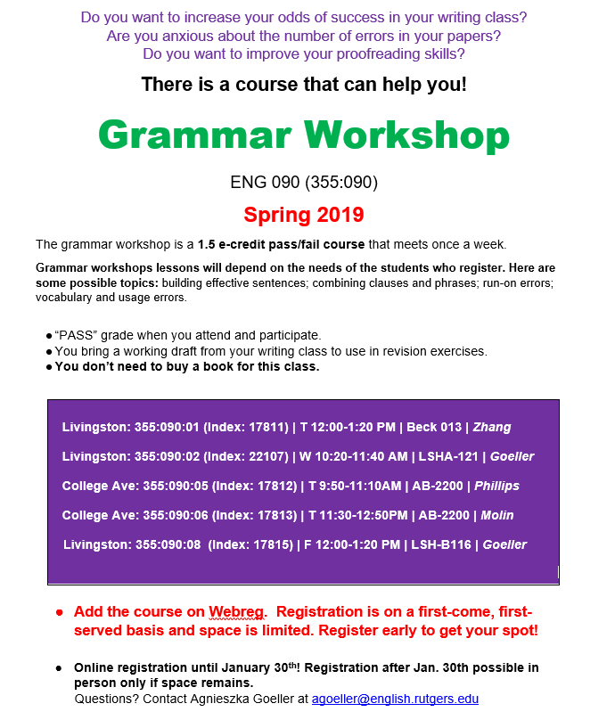grammar workshop spring 2019