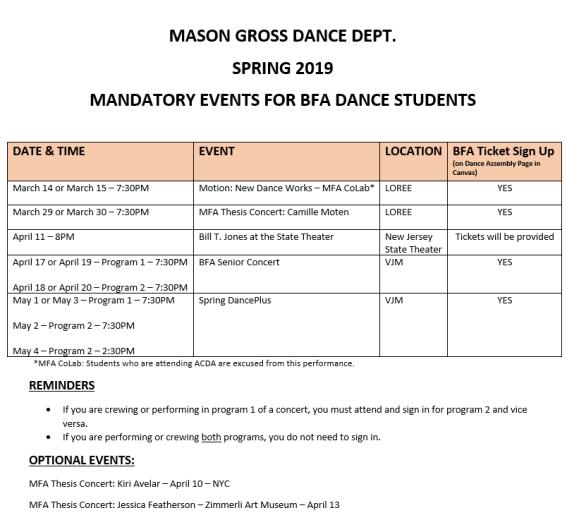 BFA Mandatory Events Spring 2019
