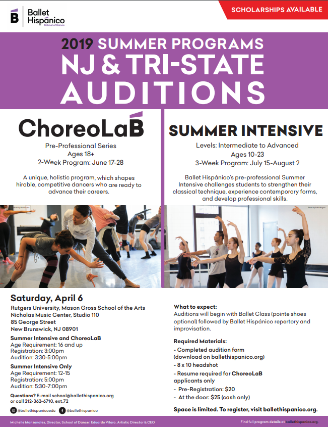 Ballet Hispanico 2019 Summer Programs Auditions