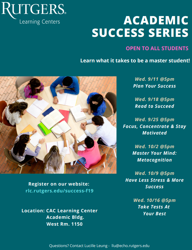 Fall 2019 Academic Success Series