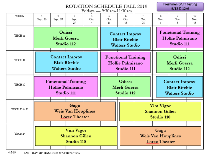 Fall 2019 Rotation Schedule