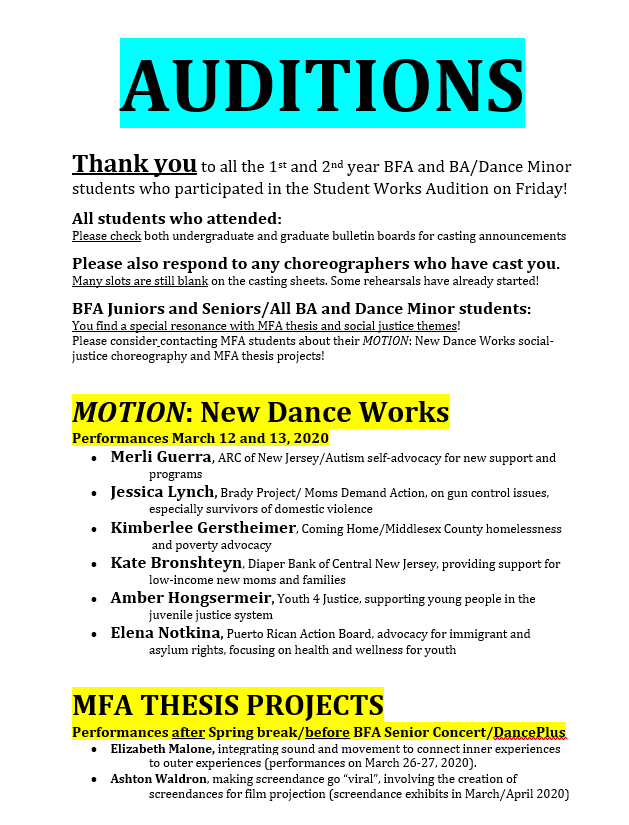 MFA Auditions Announcement