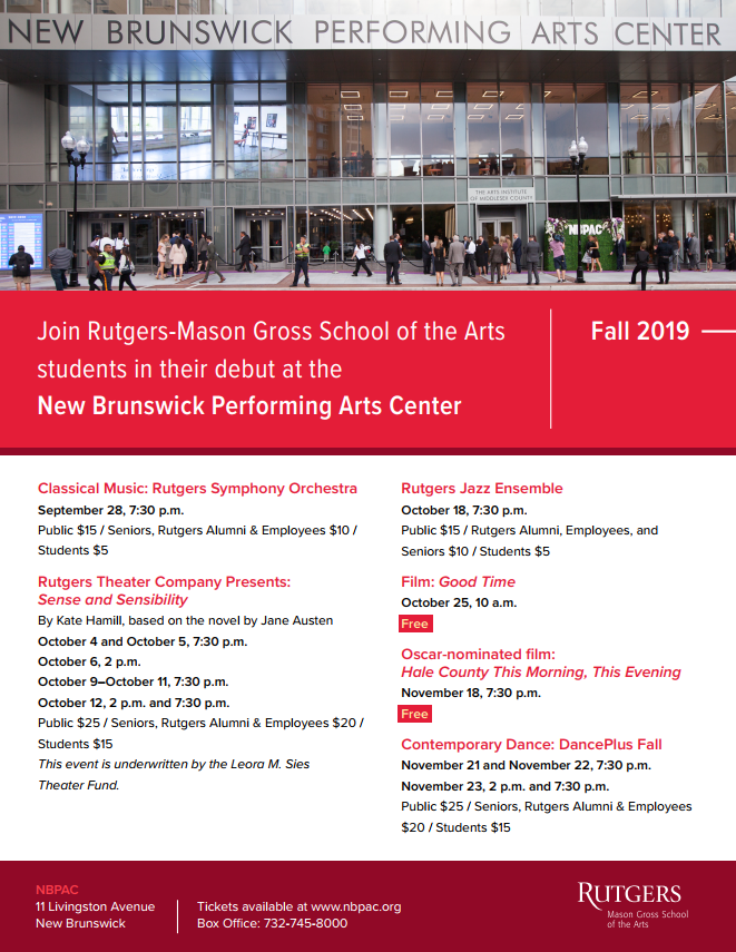 NBPAC Fall 2019 Events